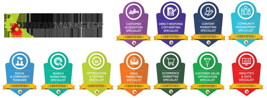 11 Certificações Internacionais de Especialista do Maior Programa de Formação de Marketing Digital do Mundo